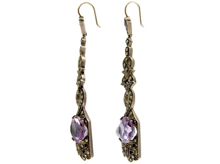 Amethyst Silver Drop Earrings