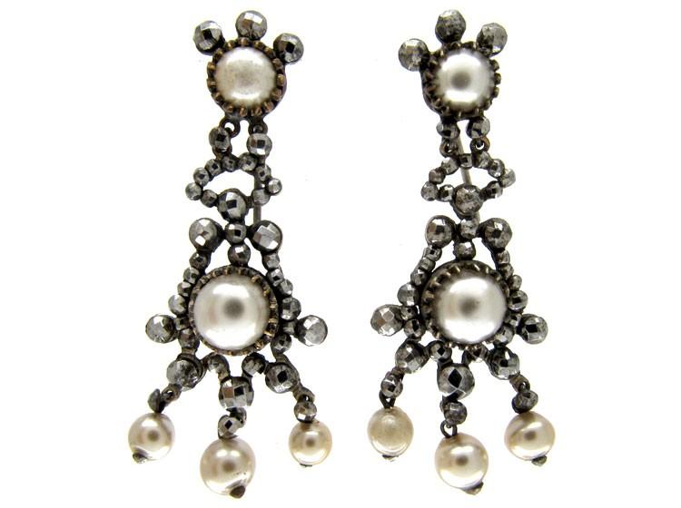 Cut Steel & Faux Pearl Drop Earrings
