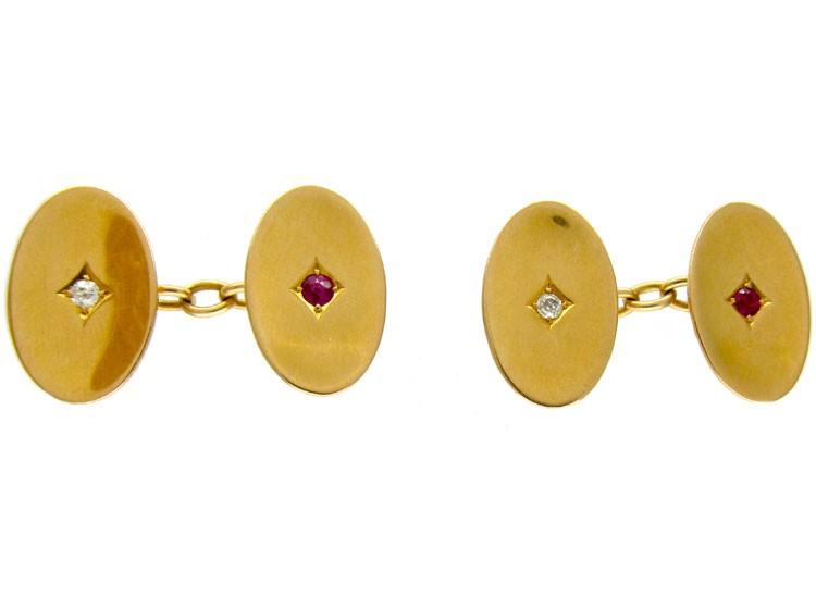 Ruby & Diamond 18ct Gold Oval Cufflinks