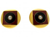 Carnelian Gold & Onyx Earrings with Pearl Centre