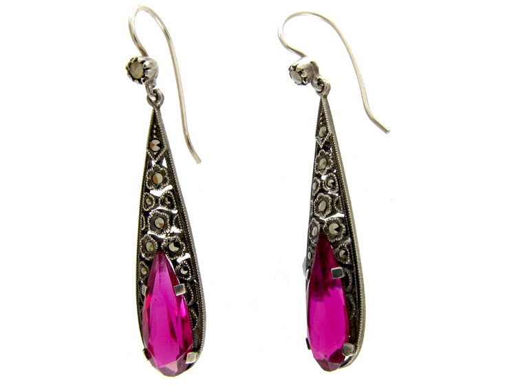 Pink Paste & Marcasite Silver Earrings