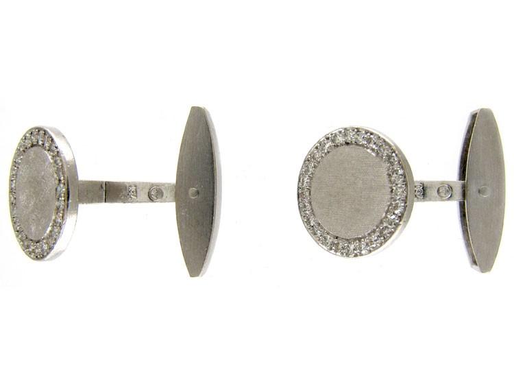 1960s Diamond & 18ct White Gold Cufflinks