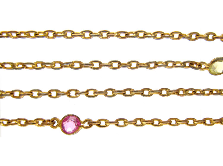 Victorian Pinchbeck & Coloured Paste Guard Chain