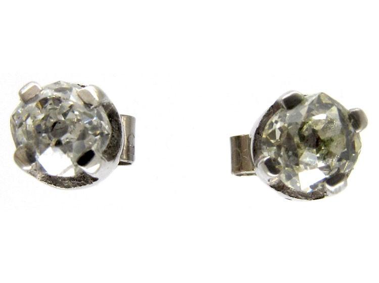 Old Mine Cut Single Stone Diamond Earrings