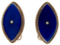 Navette Shaped Georgian Enamel Earrings