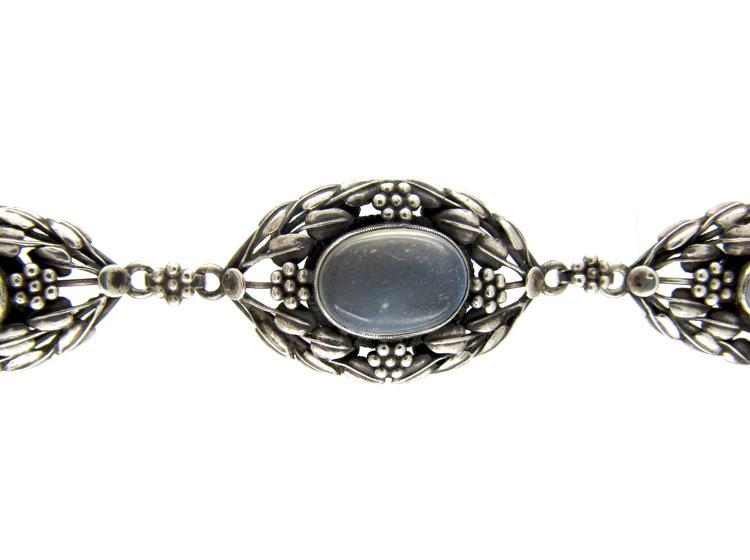 Art Nouveau Silver & Moonstone Bracelet