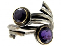 Amethyst Silver Coily Ring