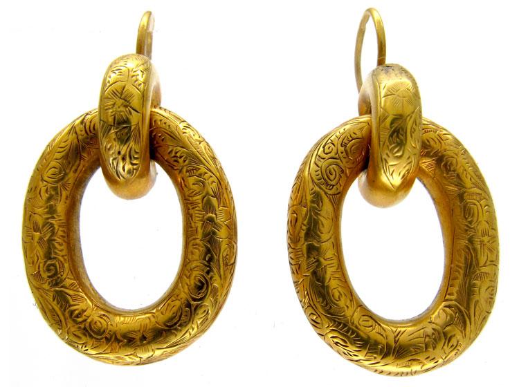 Engraved Gold Victorian Hoop Earrings