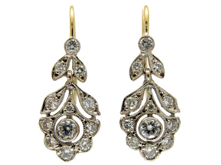 Edwardian Diamond Drop Flower Earrings