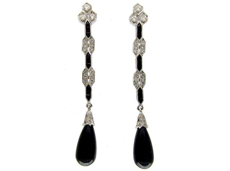 Onyx & Diamond Long Drop Earrings