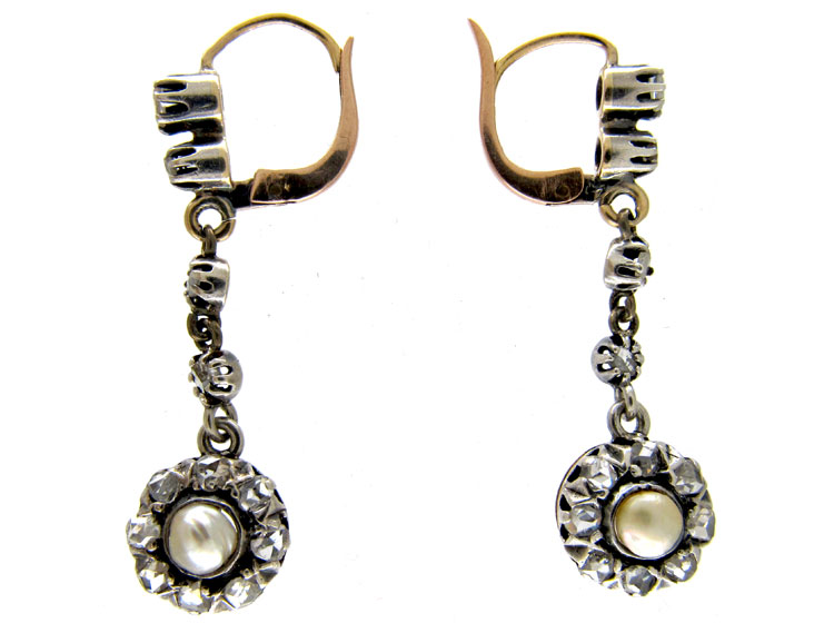 Long Rose Diamond & Natural Pearl Drop Earrings