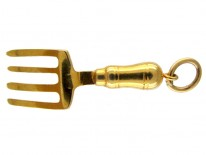 Gold Pitch Fork Charm