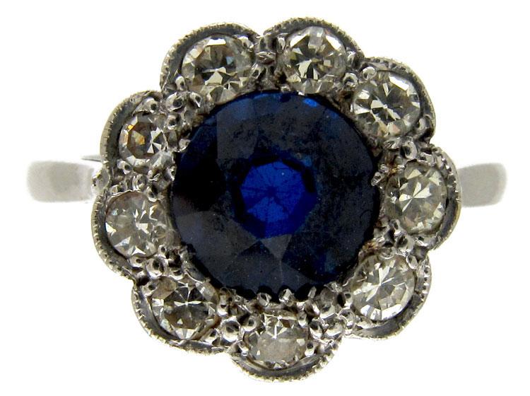 Sapphire & Diamond Edwardian Cluster Ring