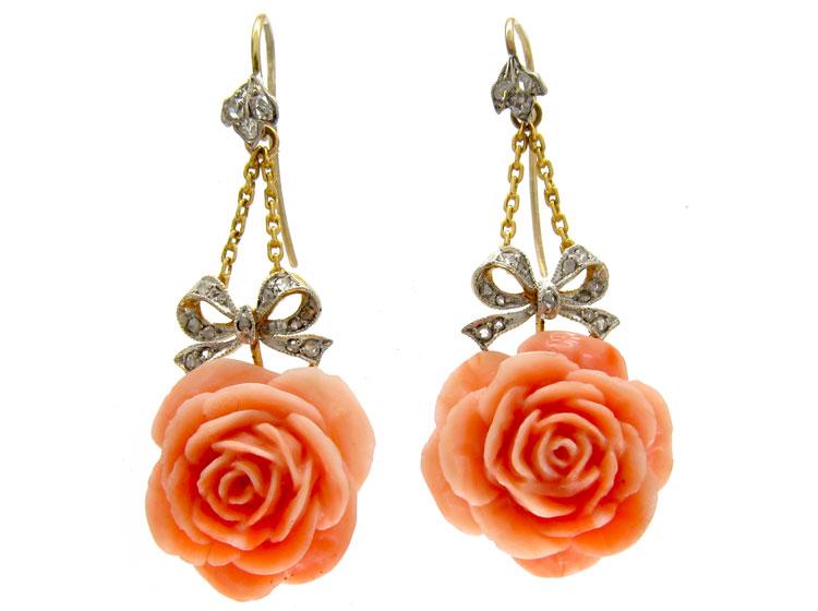 Coral & Diamond Flower Earrings