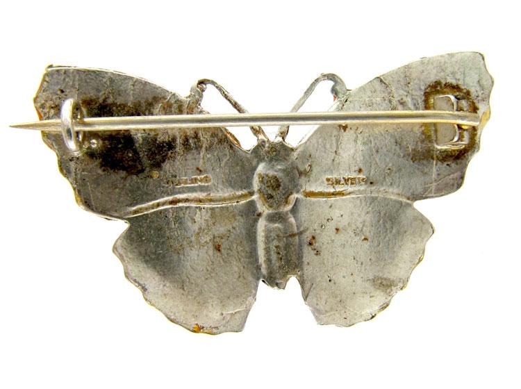 Orange & Green Enamel Butterfly Brooch