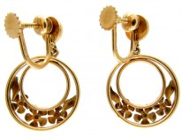 Enamel & Gold Flower Hoop Earrings