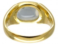 Oval Moonstone 18ct Gold Retro Ring