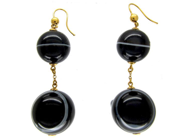 Victorian Onyx Ball Drop Earrings