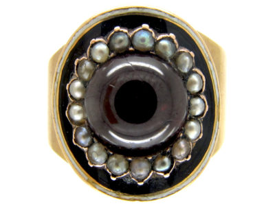 Cabochon Garnet & Natural Pearl Georgian Mourning Ring