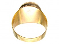 Cabochon Garnet & Natural Pearl Georgian Mourning Ring