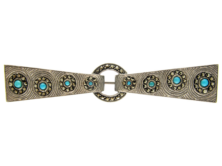 Theodor Fahrner Silver & Turquoise Brooch