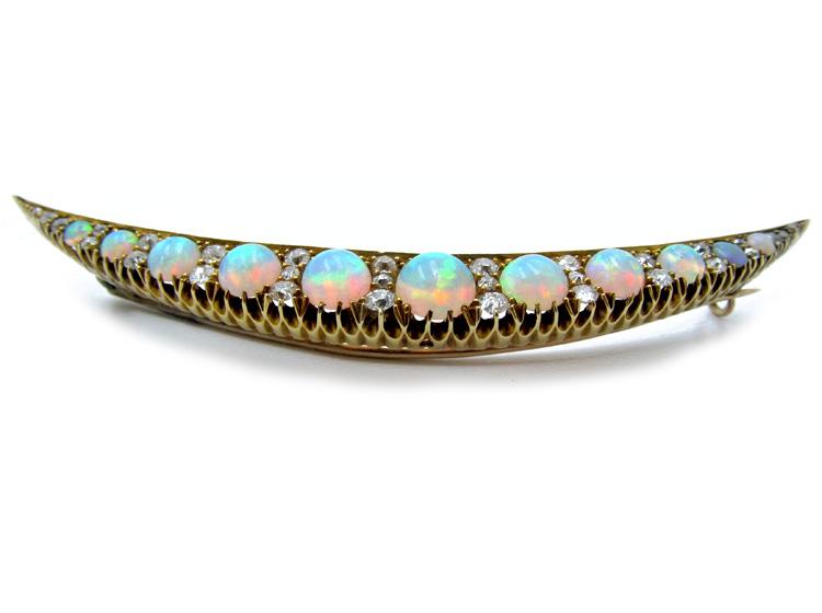 Opal & Diamond Late Victorian Crescent Brooch