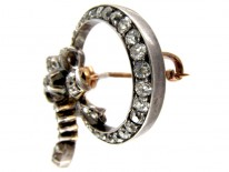 Victorian Diamond Circular Bow Brooch