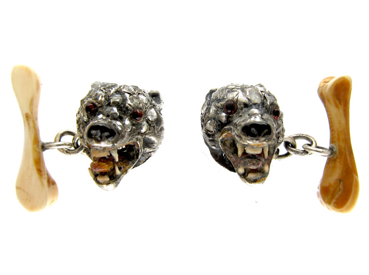 Diamond Wolves Head Cufflinks