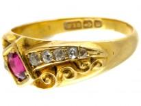 Ruby & Diamond Victorian Crossover Ring