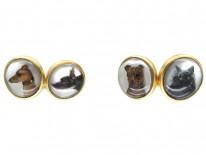 Carved Intaglio Rock Crystal Dog Cufflinks