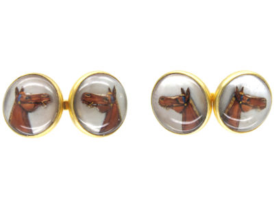 Reverse Intaglio Rock Crystal Horse's Head Cufflinks