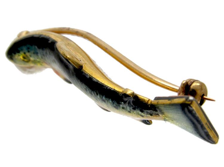 Gold & Enamel Edwardian Trout Brooch