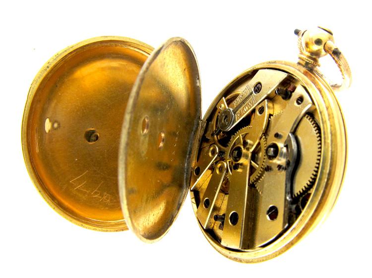 Enamel & Gold Half Hunter Watch