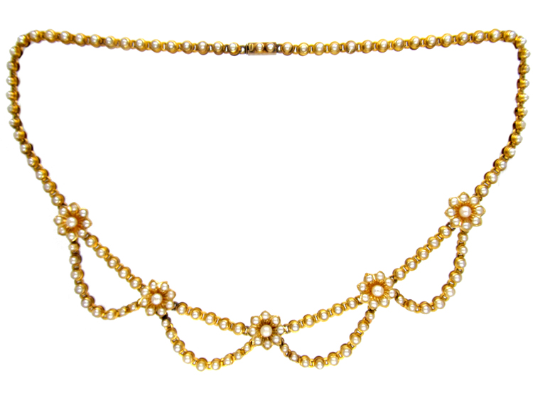 Victorian 18ct Gold & Natural Split Pearl Festoon Necklace