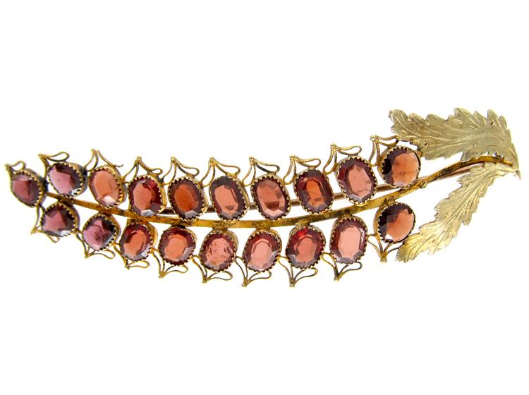 Georgian Almandine Garnet Flower Brooch