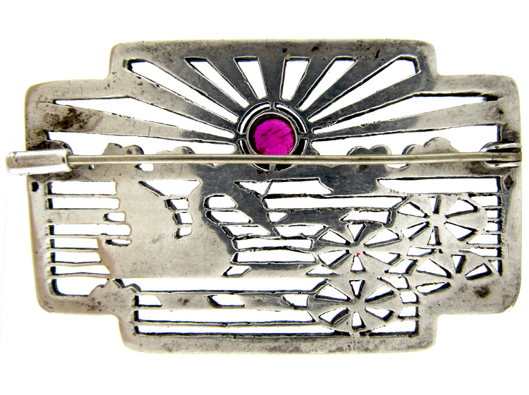 Art Deco Marcasite & Silver Swan Brooch