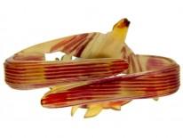 Art Nouveau Carved Horn Swallow Scarf Clip