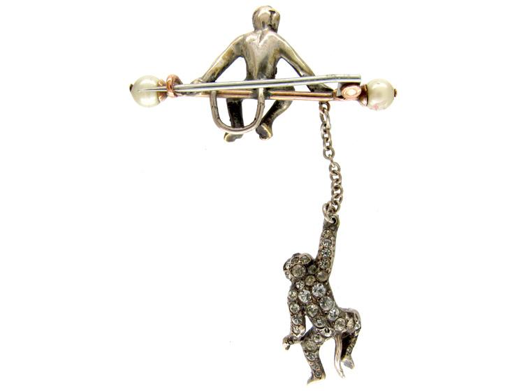 Edwardian Paste & Silver Double Monkey Brooch