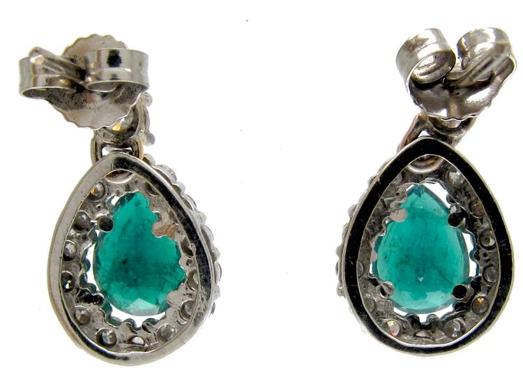 Emerald & Diamond Pear Shape Earrings