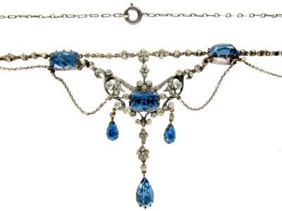 Blue & White Paste Edwardian Festoon Necklace