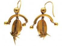 Victorian 18ct Gold & Emerald Fringe Drop Earrings