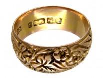 Edwardian Wide 9ct Gold Engraved Wedding Ring