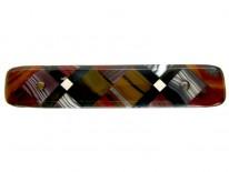 Scottish Mixed Agate Geometric Victorian Brooch