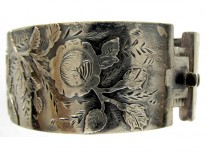 Victorian Silver Rose Overlay Bangle