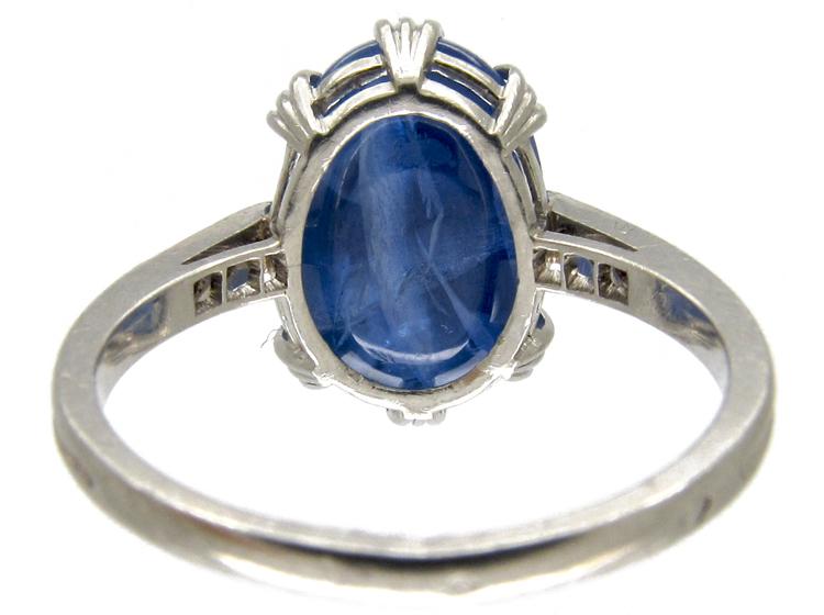 Large Cabochon Sapphire & Diamond Ring