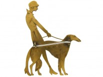 Art Deco Metal Lady & Dog Brooch