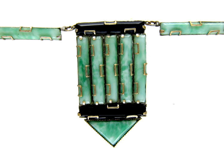 Art Deco Jade Glass Necklace