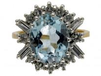 Aquamarine & Diamond 1960s Ring