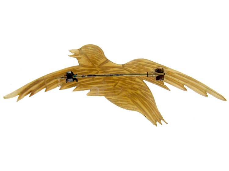 Carved Horn Swallow Brooch
