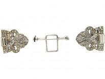 Art Deco Double Clip Silver & Paste Brooch
